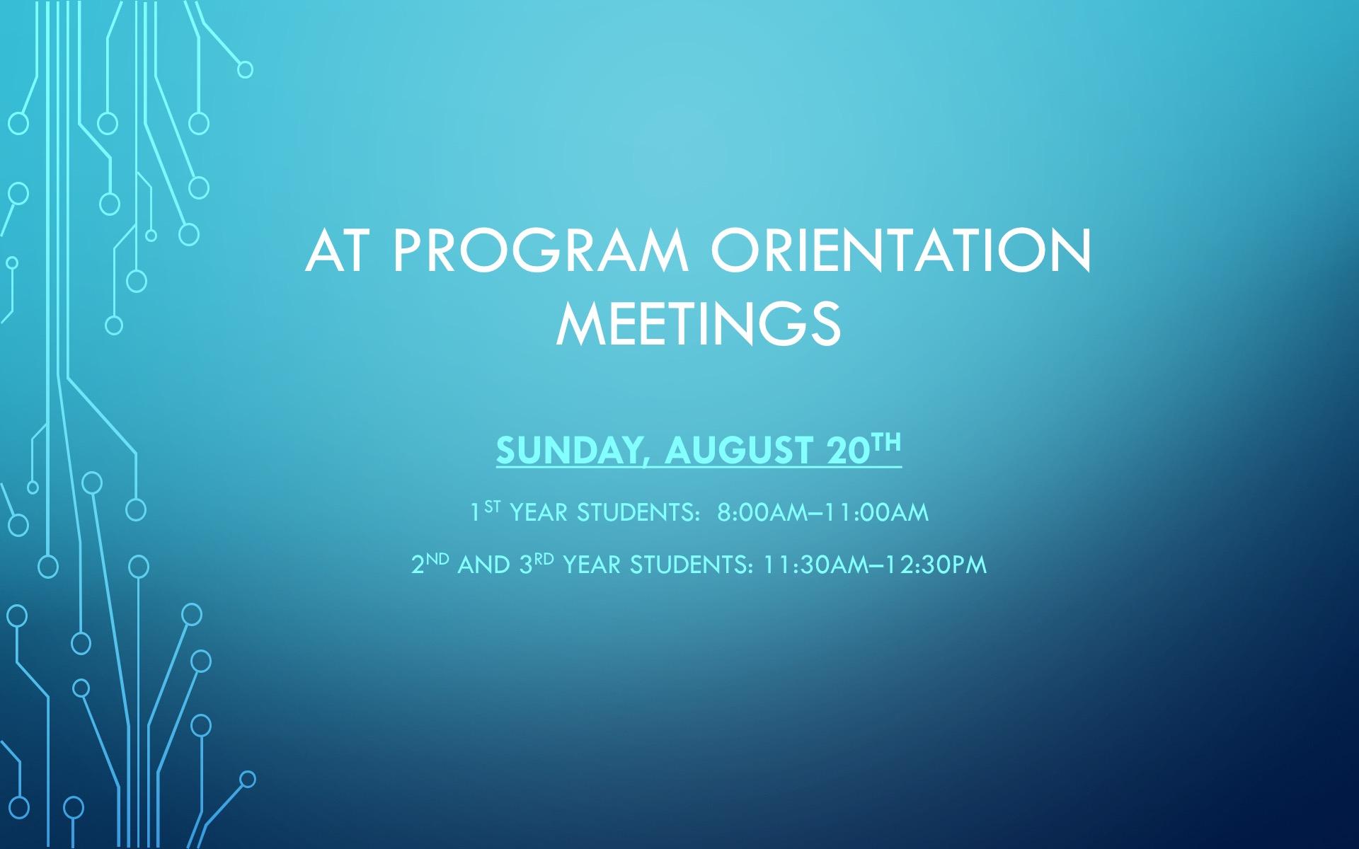 AT Program Orientation Meeting