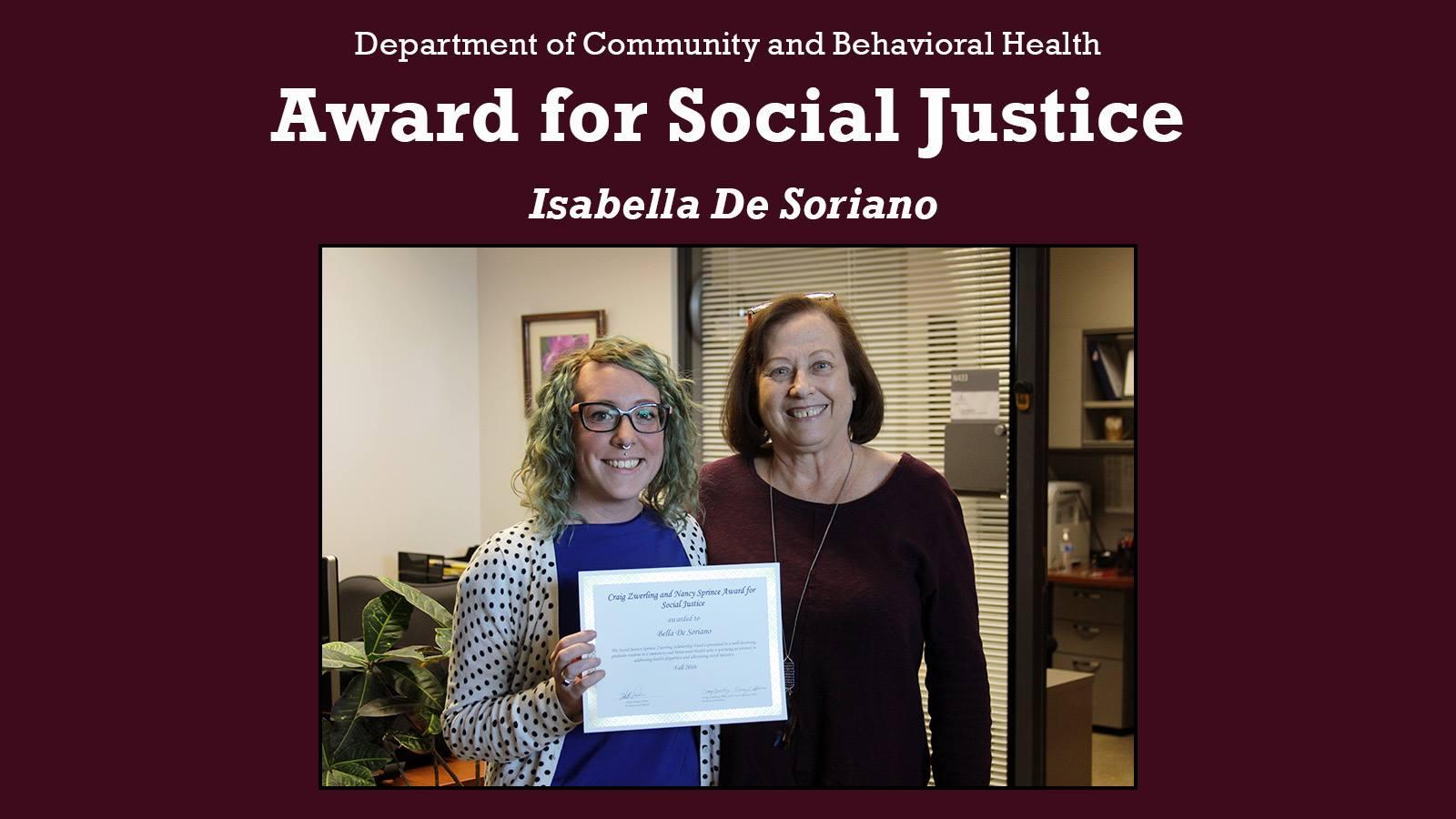 Bella De Soriano Social Justice Award