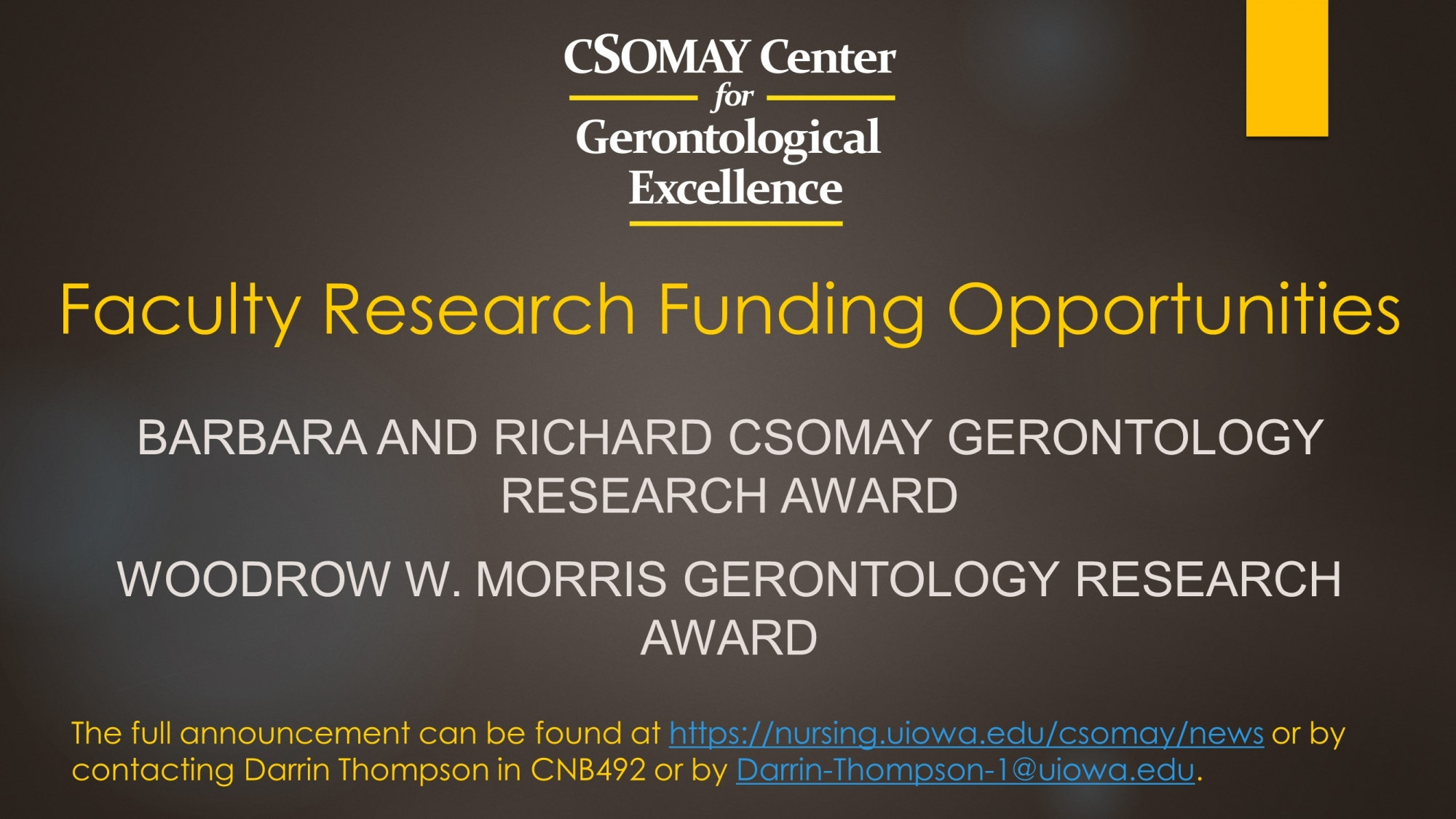 Csomay Faculty Funding
