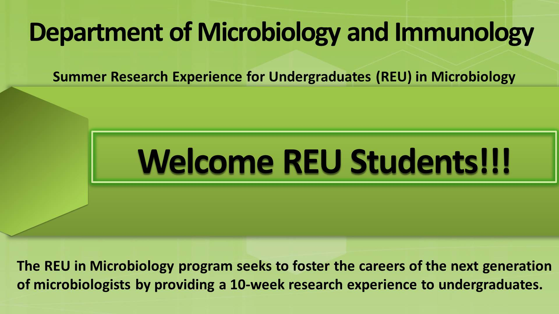 2017 welcome REU students