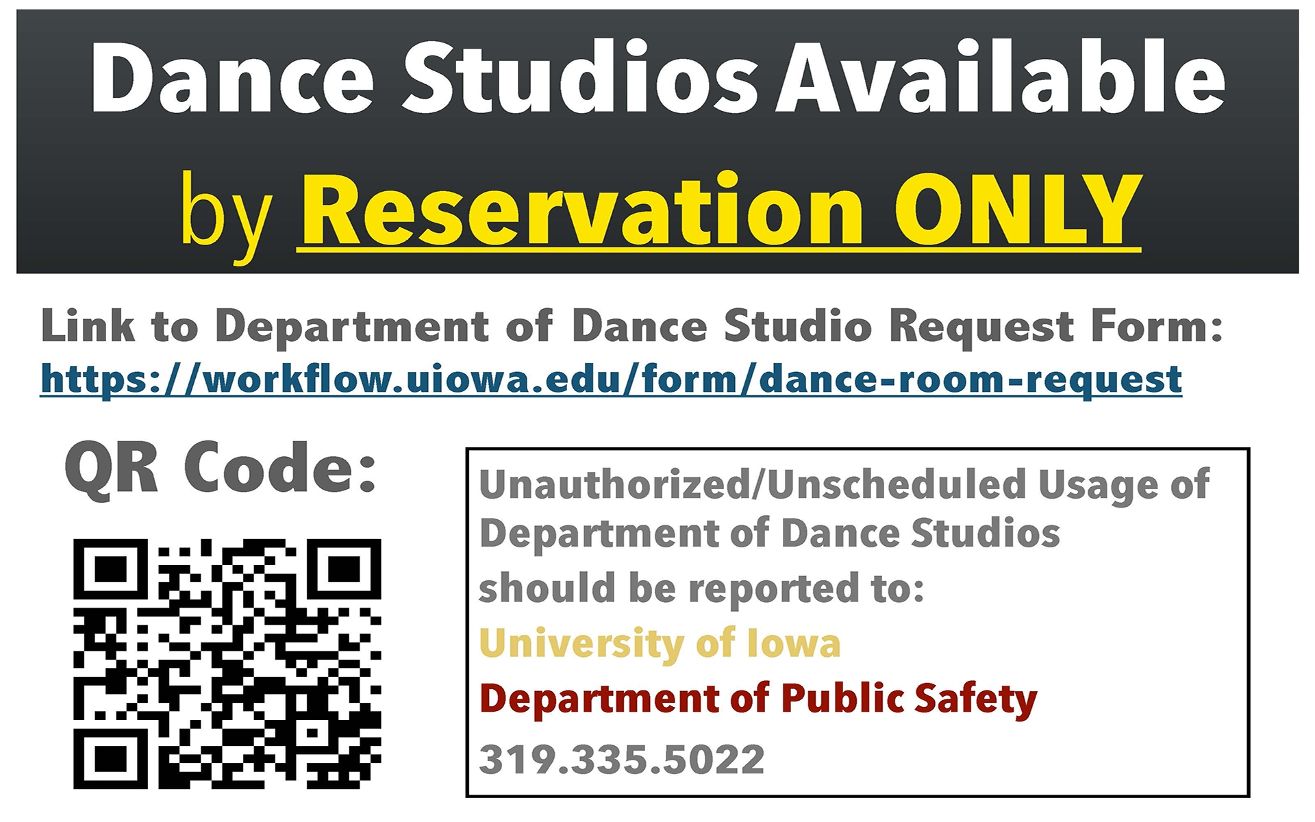 dance studio reservation link and QR HH 2017-2018