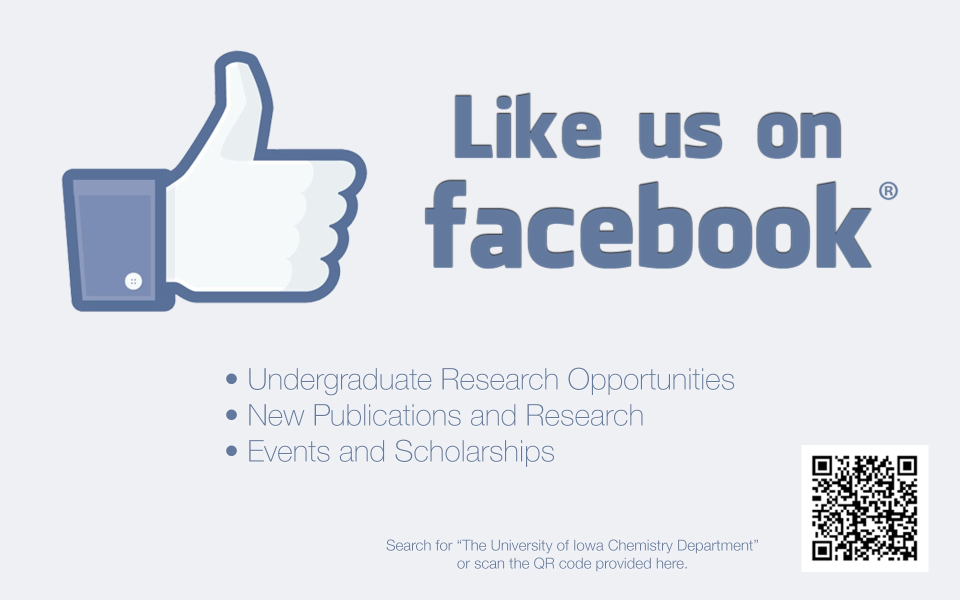 """Live """"The University of Iowa Chemistry Department"""" on Facebook."""