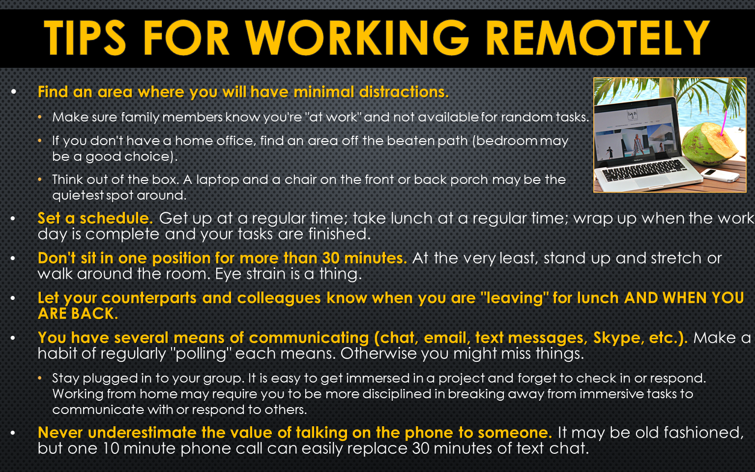 2020March-Tips for Working Remotely