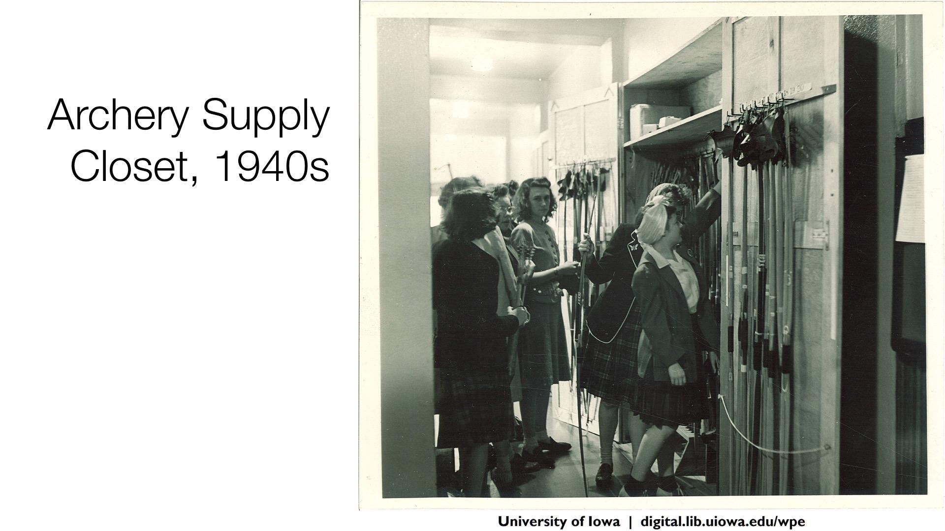 Archery Supply Closet, 1940s