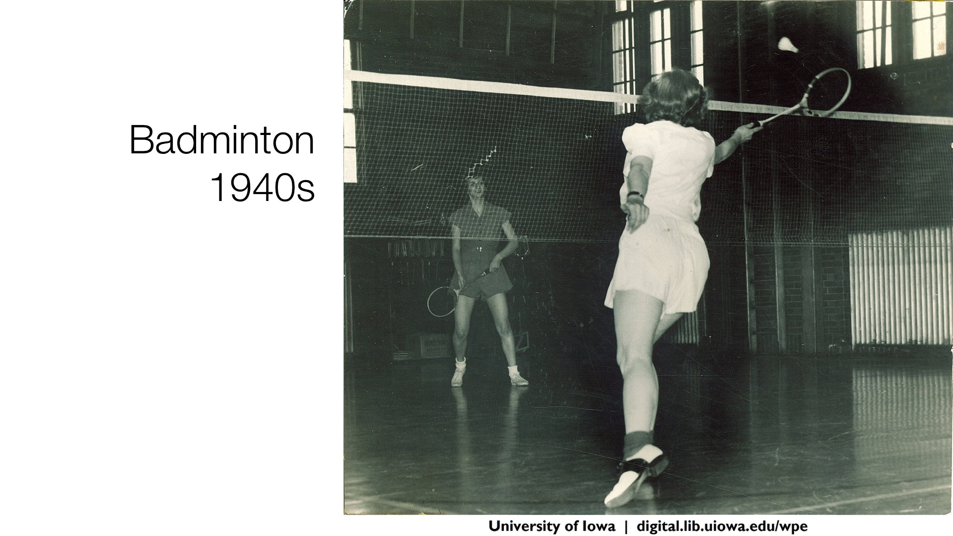 badminton class, 1940s