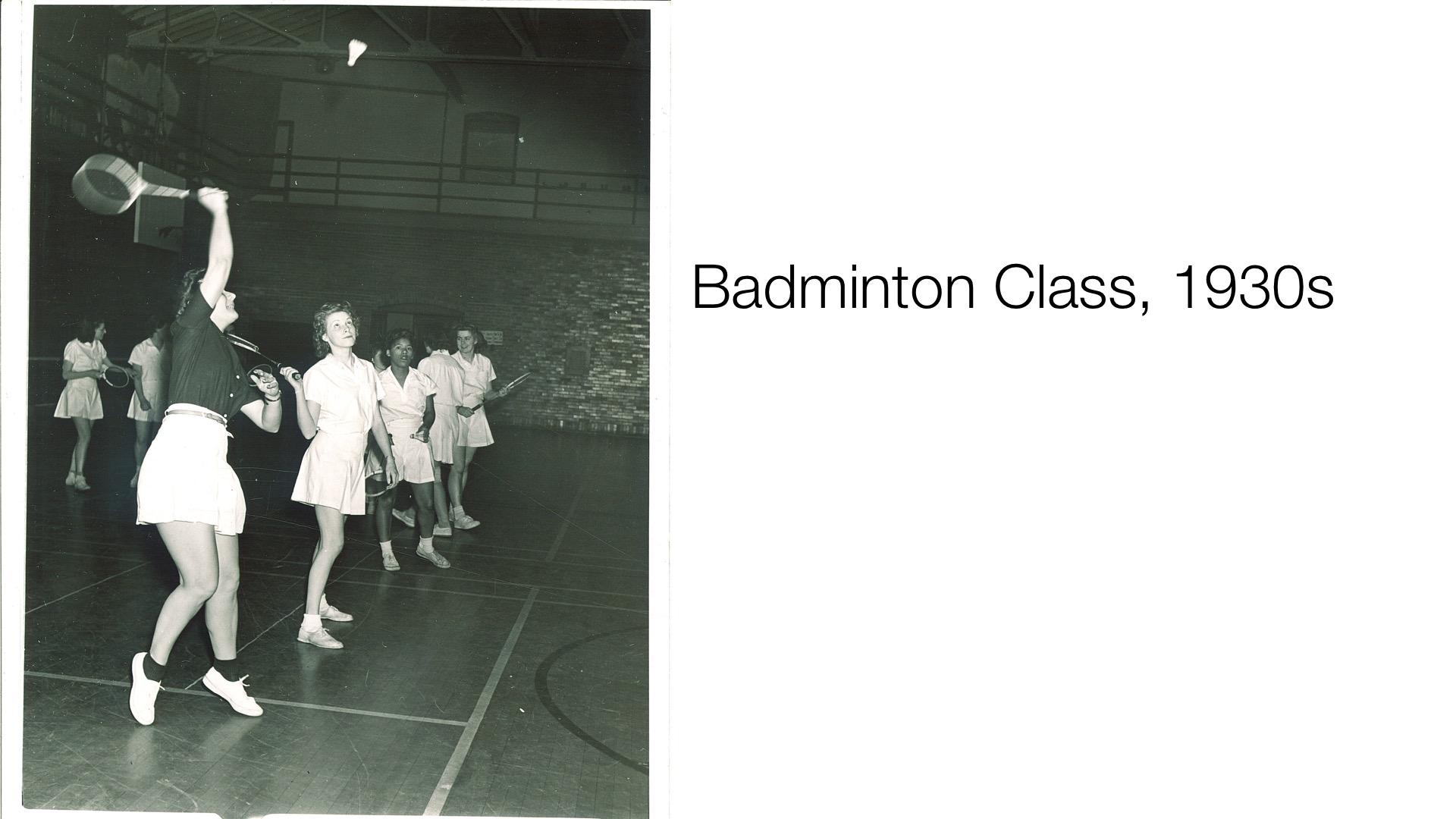 badminton class, 1930s