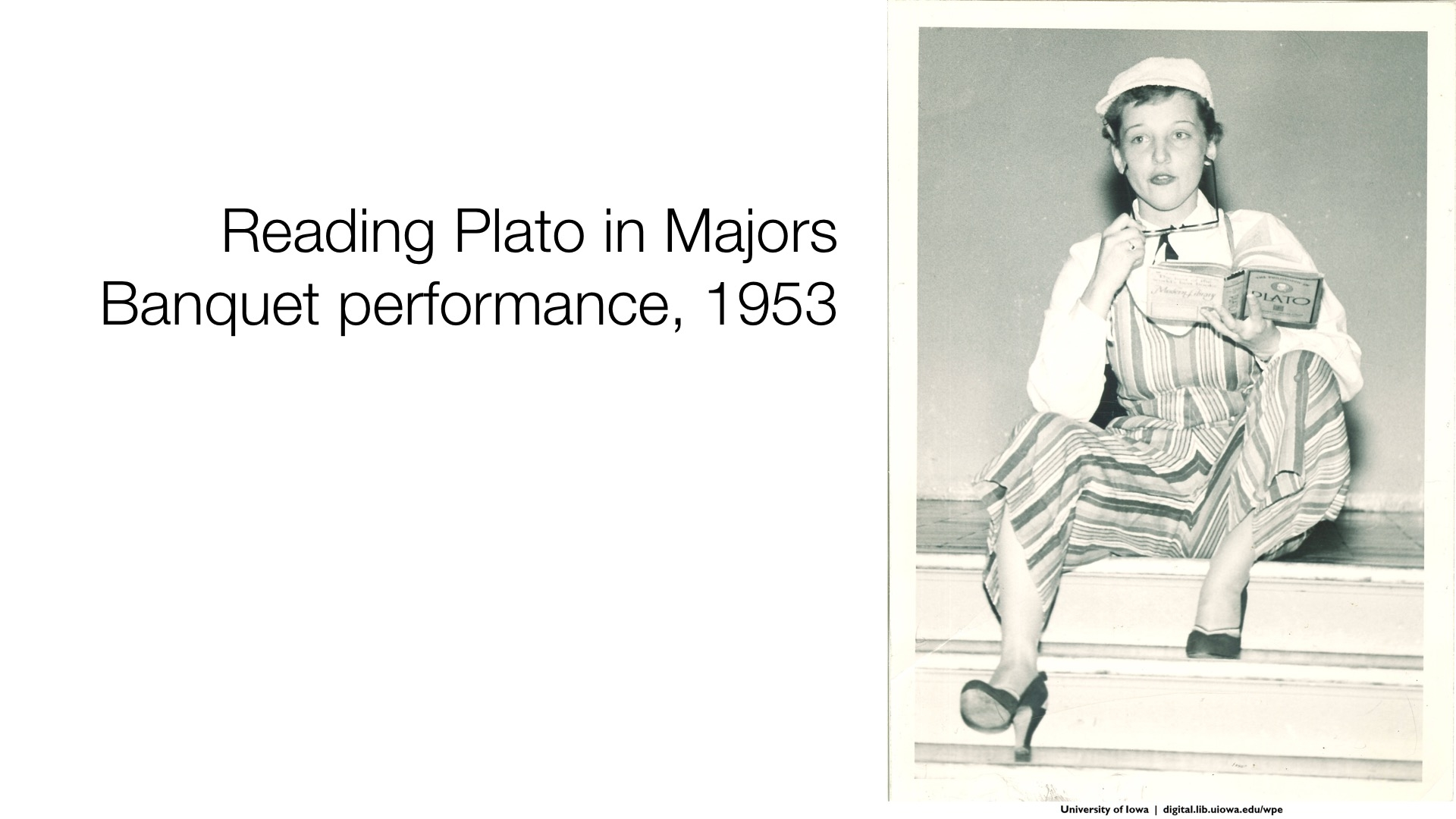 reading plato in majors banquet performance, 1953