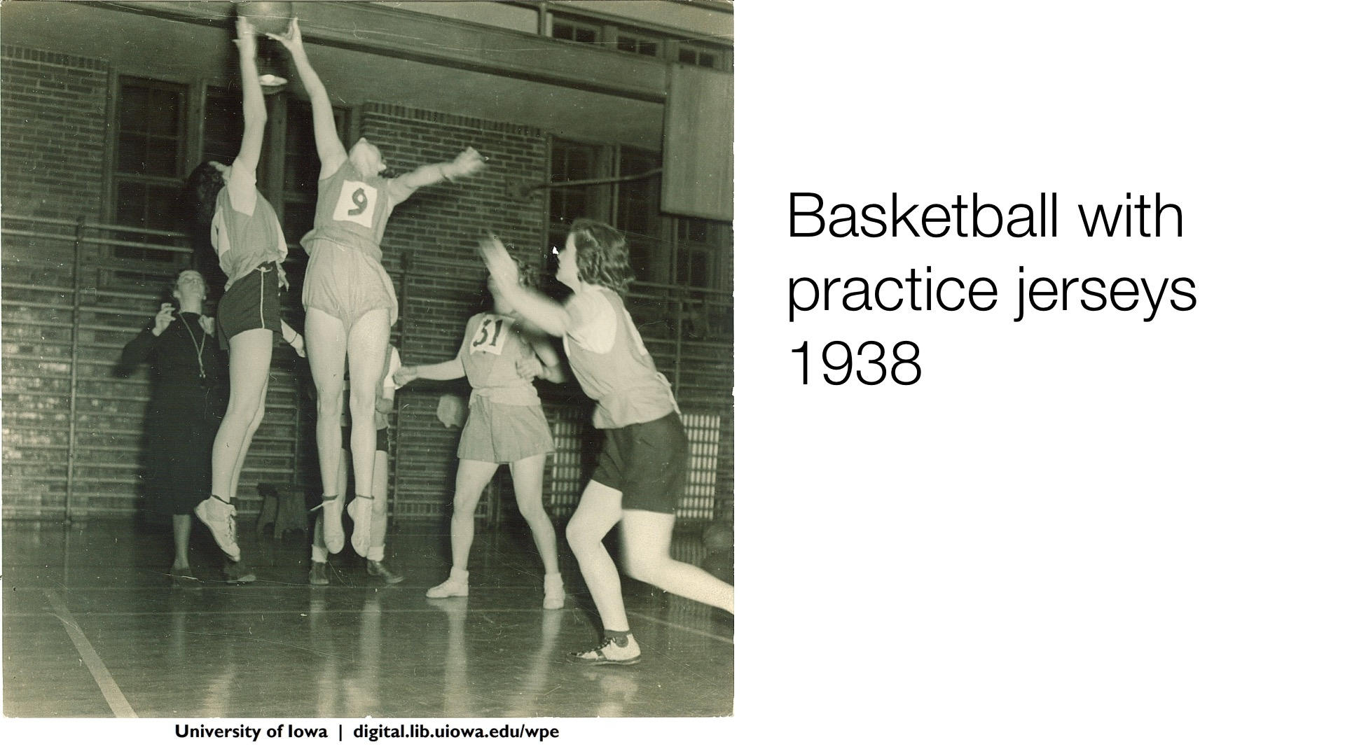 Basketball with practice jersey, 1938