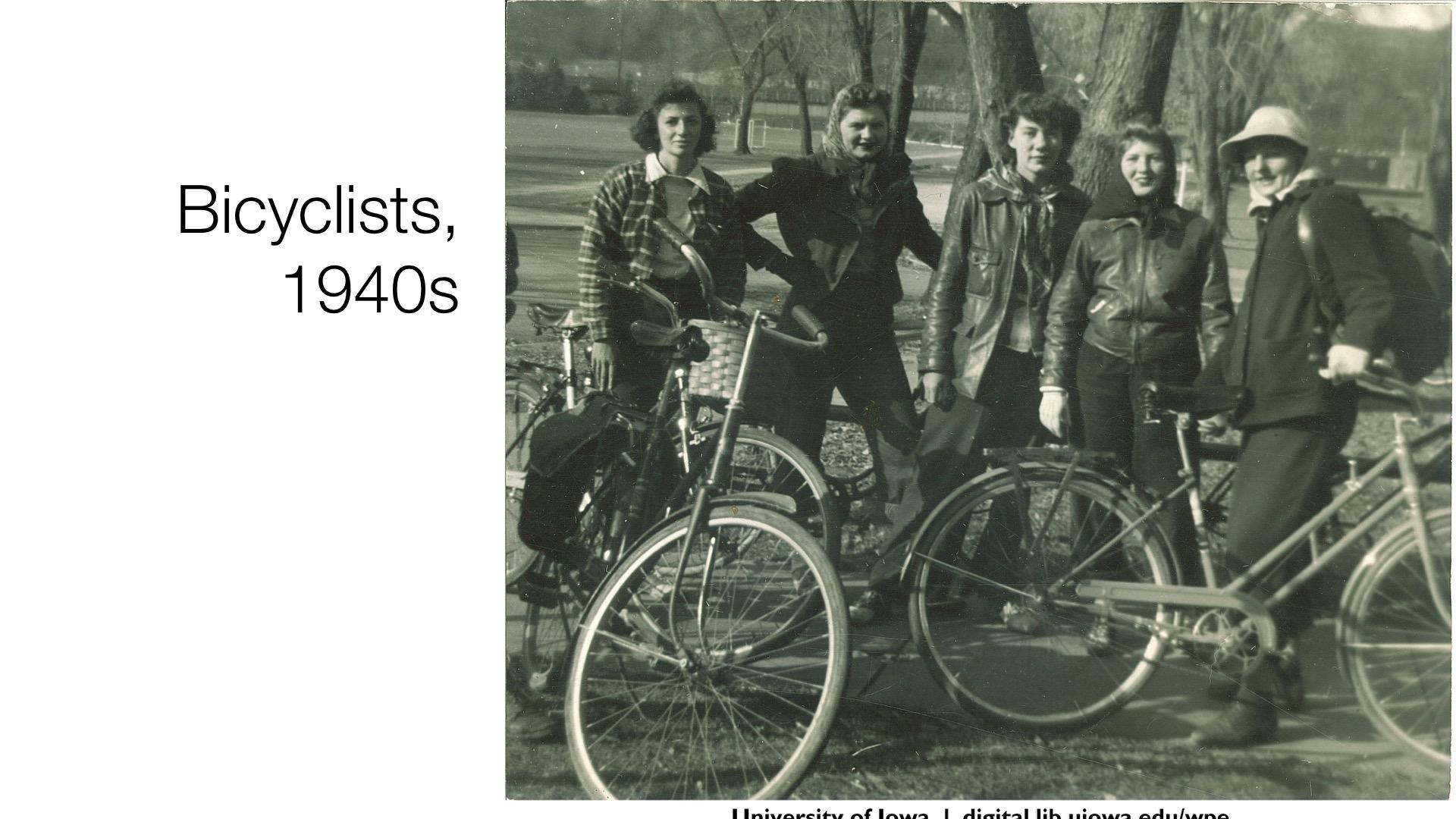 bicyclists, 1940s