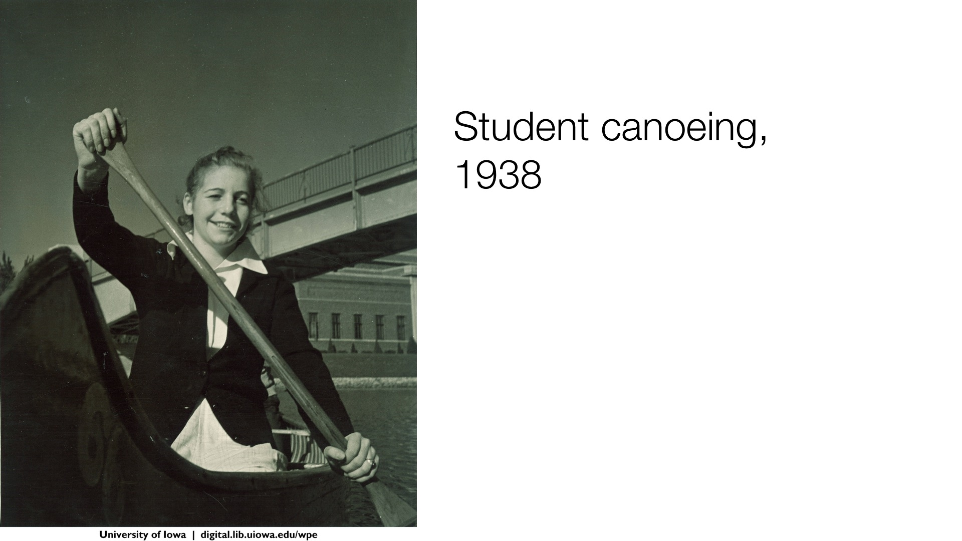 Student canoeing, 1938