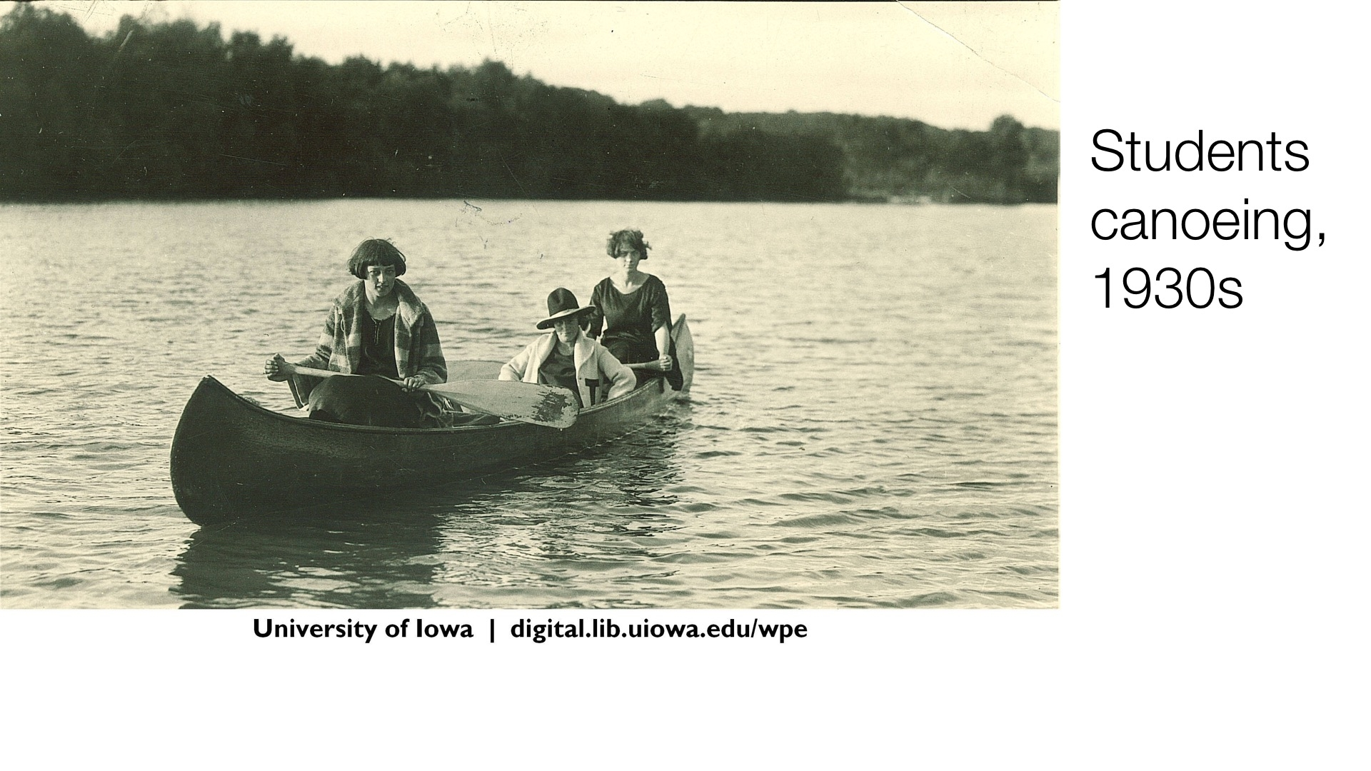 Students canoeing, 1930s
