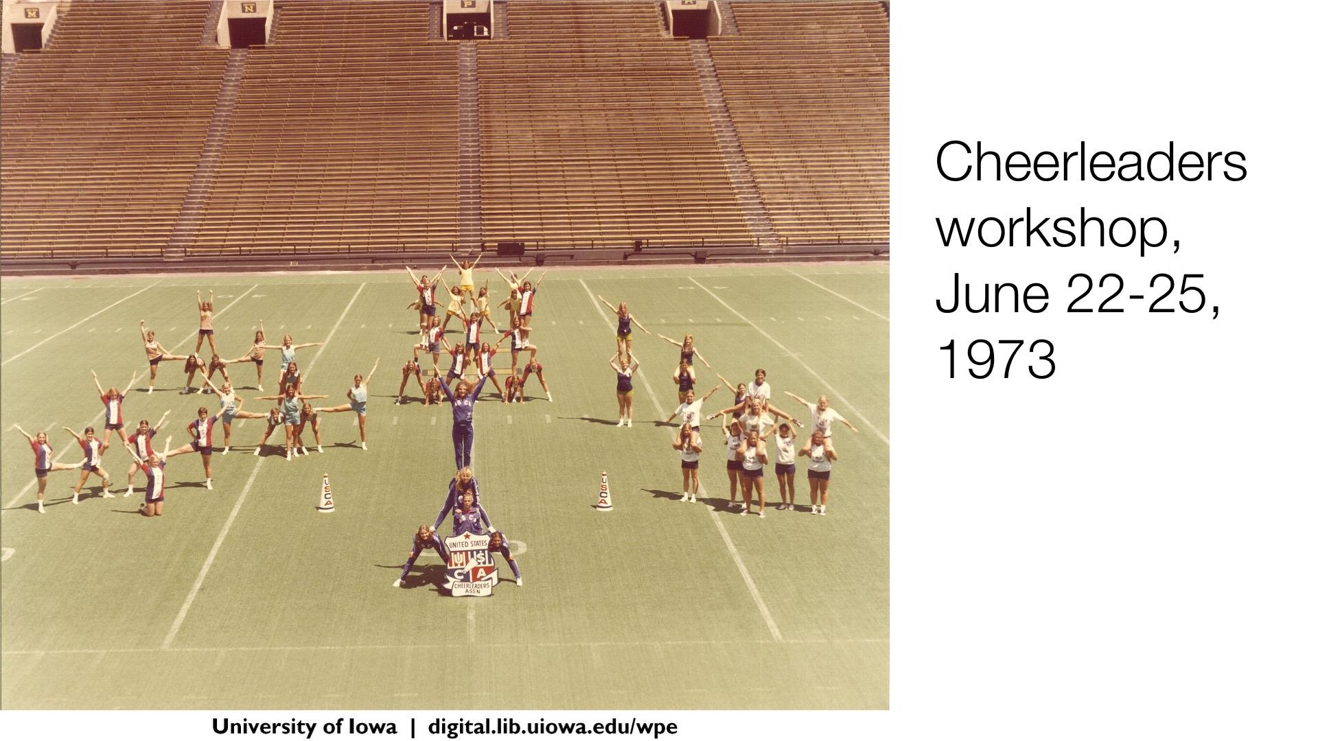 Cheerleaders workshop, June 22-25 1973