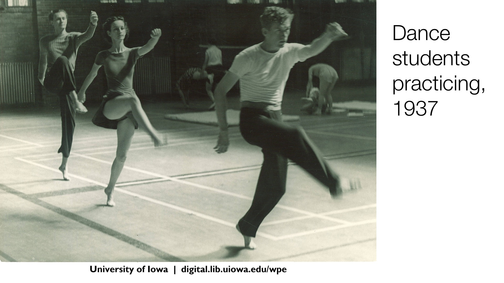 Dance students practicing, 1937